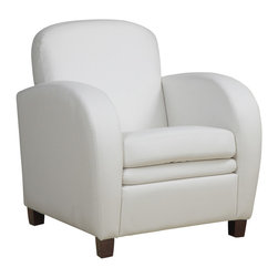 Monarch Specialties - Monarch Specialties 8037 Accent Chair in White Leather - Smooth curves and a bold design make this white leather-look accent chair a must accent piece for your home. The square seat and high seat back provide supportive comfort while oversized track arms and a white contrast baseball stitch round out the design with chic and sophisticated lines. Simple post legs in a dark cappuccino finish anchor the base of the chair, while the plush boxed seat cushion and padded back offer support that you will be just dying to sink into.