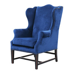Kathy kuo home gracie art deco royal blue velvet classic wing chair
