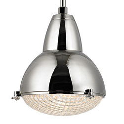 "Restoration Warehouse - Restoration Warehouse Belmont Pendant-Polished Nickel - In the early twentieth century, the northern French city of Lille was among the first to illuminate its streets using newly engineered convex lenses. Our Belmont pendant translates these storied vintage lamps into stylish domestic settings. We join the polished prismatic glass to a sturdy metal body with custom knobbed fasteners, creating the pendant's memorable gourd figure that has endured for over 100 years.Available in three sizes: large, medium, and smallFinish: Polished NickelNumber of Lamps: 1Socket Type: E26 Medium BaseMaximum Height:81.25"" (L)76"" (M)70.5"" (S)Minimum Height:27.25"" (L)22"" (M)16.75"" (S)As seen in Luxe Interiors + Design Summer 2014 Issue. **refer to photo 4**"