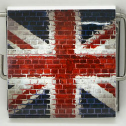 Toilet Tissue Dispenser MDF Union Jack Multicolor - This toilet tissue dispenser for bathrooms is in medium-density fiberboard (MDF) and metal. Its Union Jack's flag model is perfect to give a decorative touch to any bathroom. Easy to fix to the wall with the mounting hardware included (2 screws). Length 5.31-Inch, height 4.5-Inch and depth 1-Inch. Wipe clean with a damp cloth. Color multicolor. An attractive way to dispense toilet tissue and to add an elegant design to your bathroom! Complete your decoration with other products of the same collection. Imported.