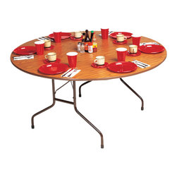 Correll Inc - Round Melamine Folding Table in Medium Oak (6 - Finish: 60 in./Med OakFor light duty home, office and shop use. 0.625 in. high density particle board core. 1.125 in. 14 gauge steel wishbone legs. 1.625 in. one piece steel Apron. Mar-proof plastic foot caps and edge molding. Automatic lock-open mechanism. Pictured in Medium Oak. 48 in.. 60 in.