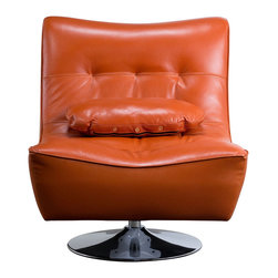 """Diamond Sofa - Ultimate Swivel Armless Chair in Orange - The Ultimate Swivel Armless Chair by Diamond Sofa provides a chic, modern style along with comfort and functional ability. Swiveling 360 degrees, the Ultimate chair is more than just for looks, but also a comfortable chair that will soon become your favorite seat in the house. The sophisticated styling will help you to achieve that look you have always wanted. Extra wide metal base with low center of gravity provides for maximum stability. Coral Orange Top Grain Leather on the seat and back, and finished with a leather match vinyl on the sides and bottom finishes the look. The Ultimate Swivel Chair measures 32 inches wide by 33 inches deep by 36 inches high.; Top Grain Leather in Coral Orange Finish; Contoured Seat Design for Maximum Comfort; 360 Degree Swivel; Sleek, Contemporary Armless Design; Metal Base; Primary Material: Top Grain Leather; Fabric Content: Polydacron, Polyester Fibers; Weight: 55 lbs; Dimensions: 32""""L x 33""""W x 36""""H"""