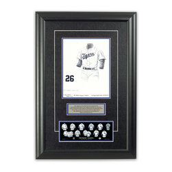"Heritage Sports Art - Original art of the MLB 1960 Detroit Tigers uniform - This beautifully framed piece features an original piece of watercolor artwork glass-framed in an attractive two inch wide black resin frame with a double mat. The outer dimensions of the framed piece are approximately 17"" wide x 24.5"" high, although the exact size will vary according to the size of the original piece of art. At the core of the framed piece is the actual piece of original artwork as painted by the artist on textured 100% rag, water-marked watercolor paper. In many cases the original artwork has handwritten notes in pencil from the artist. Simply put, this is beautiful, one-of-a-kind artwork. The outer mat is a rich textured black acid-free mat with a decorative inset white v-groove, while the inner mat is a complimentary colored acid-free mat reflecting one of the team's primary colors. The image of this framed piece shows the mat color that we use (Medium Blue). Beneath the artwork is a silver plate with black text describing the original artwork. The text for this piece will read: This original, one-of-a-kind watercolor painting of the 1960 Detroit Tigers uniform is the original artwork that was used in the creation of this Detroit Tigers uniform evolution print and tens of thousands of other Detroit Tigers products that have been sold across North America. This original piece of art was painted by artist Bill Band for Maple Leaf Productions Ltd. Beneath the silver plate is a 3"" x 9"" reproduction of a well known, best-selling print that celebrates the history of the team. The print beautifully illustrates the chronological evolution of the team's uniform and shows you how the original art was used in the creation of this print. If you look closely, you will see that the print features the actual artwork being offered for sale. The piece is framed with an extremely high quality framing glass. We have used this glass style for many years with excellent results. We package every piece very carefully in a double layer of bubble wrap and a rigid double-wall cardboard package to avoid breakage at any point during the shipping process, but if damage does occur, we will gladly repair, replace or refund. Please note that all of our products come with a 90 day 100% satisfaction guarantee. Each framed piece also comes with a two page letter signed by Scott Sillcox describing the history behind the art. If there was an extra-special story about your piece of art, that story will be included in the letter. When you receive your framed piece, you should find the letter lightly attached to the front of the framed piece. If you have any questions, at any time, about the actual artwork or about any of the artist's handwritten notes on the artwork, I would love to tell you about them. After placing your order, please click the ""Contact Seller"" button to message me and I will tell you everything I can about your original piece of art. The artists and I spent well over ten years of our lives creating these pieces of original artwork, and in many cases there are stories I can tell you about your actual piece of artwork that might add an extra element of interest in your one-of-a-kind purchase."