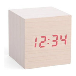 Inova Team -Wooden Cube Shaped Alarm Clock - Simple wooden cube shaped alarm clock.
