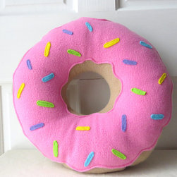 Pink Frosted Doughnut Pillow by Wild Rabbits Burrow - This is cuteness in a pillow.