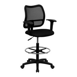 Flash Furniture - Mid-back Mesh Drafting Stool with Black Fabric Seat and Arms - If you're in need of a comfortable chair with a breathable mesh back this is the chair. The modern design of the back will add a contemporary look to your office space. This chair is height adjustable to adapt to your working environment.