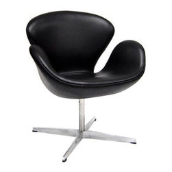Mod Black Lounge Chair - Who wouldn't stay awhile when offered a seat on this Lounge Chair? The organic shape of the back rest and seat offers comfort while the chrome steel legs and rubberized feet ensure a sturdy position. Push it up against the poker table or pair it with another midcentury armchair for a polished modern look.