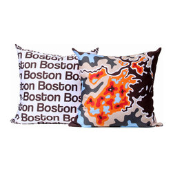 """Cartoloji - Boston Map Pillow, Orange - The pillow features a abstract map of the city on the front and the city name text on the reverse. Pillow cover is made from 100%  certified organic cotton sateen and is printed with eco-friendly inks. Pillow insert is a non-allergenic faux-down poly-fill. Pillow dimensions: 17"""" x 17"""". Hand wash or dry clean. Made in the USA. Listing is for 1 double sided pillow."""