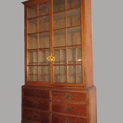 1850s American Pine Cabinet - Spectacular Pine Cabinet with original glass.  Inner Pine shelving, and (6) drawers in the base.  Gorgeous patina and construction, and in excellent antique condition.