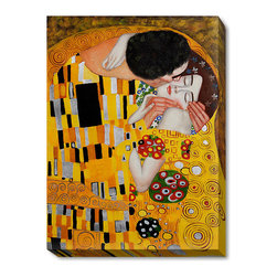 """overstockArt.com - Klimt - The Kiss - 30"""" X 40"""" Oil Painting On Canvas Hand painted oil reproduction of a famous Klimt painting The Kiss. The original masterpiece was created in 1907-08. Today it has been carefully recreated detail-by-detail, color-by-color to near perfection. Gustav Klimt, the Vienna master painted the Kiss oil painting in 1907. The painting depicts a couple surrounded by a gold blanket and ornaments sharing a moment of shear passion - the perfect kiss. In the oil and gold masterpiece, the man appears standing as he holds in his arms the kneeling woman. The two seem to be positioned on a flower field, kissing, totally engaged with one another. The woman seems to be following the lead of her partner, but is not taking an active part. The patterns of the man are mostly black and white rectangles, while the woman is engulfed in flowers. The identity of the people depicted in this oil painting is not exactly clear; some suggest that it is Klimt himself and his beloved partner, Emilie Floge. However, that is sheer speculation as Klimt made it a point never to paint himself. Gustav Klimt (1862-1918) was one of the most innovative and controversial artists of the early twentieth century. Influenced by European avant-garde movements represented in the annual Secession exhibitions, Klimt's mature style combines richly decorative surface patterning with complex symbolism and allegory, often with overtly erotic content. This work of art has the same emotions and beauty as the original. Why not grace your home with this reproduced masterpiece? It is sure to bring many admirers!"""