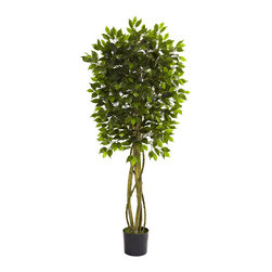 Nearly Natural - 5.5' Ficus Tree UV Resistant (Indoor/Outdoor) - The ideal home or office decoration is here with this lovely Ficus tree. Standing at a robust five and a half feet tall, it's neither too big, nor too small. The multiple trunks give an interesting effect, while the 800+ leaves bring the forest straight to you. This is an indoor / outdoor piece (UV resistant) and no maintenance required! Makes a great gift, too.