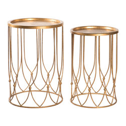 Kathy Kuo Home - Wishbone Hollywood Regency Gold Accent Round Side Table- Set of 2 - The antique gold, delicate ironwork of this stylish side table creates an open, airy silhouette. Your wish for matching tables has been granted by this pair of oval romantic accent pieces. Perfect for small collections, bud vases and vintage photographs.