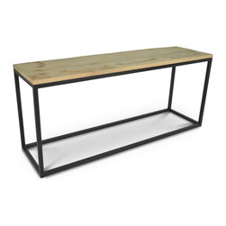 Kathy Kuo Home - Soma Industrial Loft Reclaimed Wood and Iron Console Table - Repurposed wood from old boats, crates or houses finds new life as a gorgeous oak finished sofa table, resting atop a stainless steel frame. Each piece is a one-of-a-kind creation, guaranteed to bring a smile along with high style to your home.