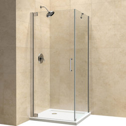 "DreamLine - DreamLine Elegance 34"" by 30"" Frameless Pivot Shower Enclosure - The Elegance shower enclosure combines clean minimal styling with exceptional quality. Opulent 3/8 in. thick tempered glass and a fluid frameless design create a prefect mix of strength and beauty. The corner installation maximizes space and becomes the heart of a bathroom design, while minimal hardware generates an open and airy appeal.  34 in. D x 30 in. W x 72 in. H ,  3/8 (10 mm) thick clear tempered glass,  Chrome or Brushed Nickel hardware finish,  Frameless glass design,  Out-of-plumb installation adjustability: Up to 1 in. per side,  Frameless glass pivot shower enclosure design,  Elegant solid brass pivot mechanism and anodized aluminum wall profiles,  Door opening: 24 in.,  Return panel: 34 in.,  Reversible for right or left door opening installation,  Material: Tempered Glass, Aluminum, Brass,  Tempered glass ANSI certifiedNote: To minimize possible leakage, install shower head opposite of the shower opening pointed toward tiled walls, fixed panels or directly down the floorProduct Warranty:,  Limited 5 (five) year manufacturer warranty"
