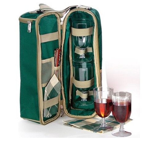"Picnic Plus - Wine Duffle, Green - Picnic Plus Wine Bottle Duffel Includes Wine Glasses, Opener, Napkins, Green. Color/Design: Green; Classic carrier for your merlot or Chablis; Durable 600D polyester exterior; Fully insulated tote holds 1 bottle and opens to reveal 2 acrylic wine goblets, cotton napkins and a wooden handle corkscrew opener inside; Adjustable shoulder strap for easy transporting. Dimensions: 8""W x 5""D x 15""H"