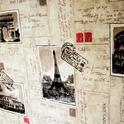 Paris fabric Eiffel Tower document script postcards stamps - A postcard document fabric with pictures of Paris and Rome, and script. For those that want something a bit different!