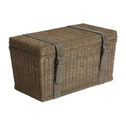 Gray Washed Wicker Trunk - A trunk can be used to store blankets and throws and double as a coffee table.