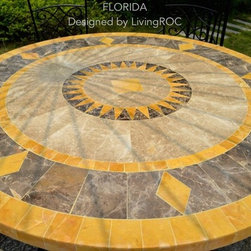 "ROUND MARBLE MOSAIC PATIO TABLE 49"" OR 63""-FLORIDA - Reference: OT911-12-US+OTB2-12-US"