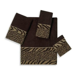 Avanti - Avanti Cheshire Bath Towel in Java - Rich java-colored towels are embellished with a heavy chenille animal skin fabric that is an exotic mixture of zebra and cheetah prints. The Avanti Cheshire Towel in Java is an eye-catching addition to any bathroom.