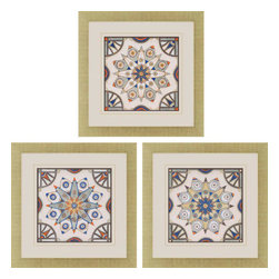 Paragon - Peri Tiles I PK/3 - Framed Art - Each product is custom made upon order so there might be small variations from the picture displayed. No two pieces are exactly alike.