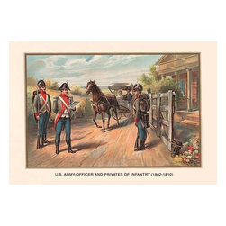 """Buyenlarge.com, Inc. - Officer and Privates of Infantry 1802 - 1810 - Paper Poster 12"""" x 18"""" - Another high quality vintage art reproduction by Buyenlarge. One of many rare and wonderful images brought forward in time. I hope they bring you pleasure each and every time you look at them."""