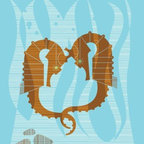 "Mid-Century Modern Art Illustrations by Eleanor Grosch - Eleanor Grosch's ""Undersea Seahorse Love"" available in sizes 10x14 and 18x24. See more of Eleanor's Nautical Themed Modern Artwork for the Home on our website."