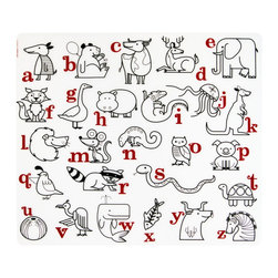 Modern-twist - Kidz Placemat Alphabet Animals, Red/Black - Made from silky food-grade, hand silk-screened silicone, the mats won't crease or rip. The mats are doodle-friendly with the use of washable or dry erase markers save paper/save trees, just clean off with a damp cloth or rinse. Color again and again.