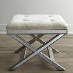 """Horchow - Mirrored X-Bench - The ever-popular X-bench takes on new style with a mirrored apron and base. Handcrafted of select solid woods and wood composite. Tufted polyester upholstery. 25""""Sq. x 20""""T. Imported. Boxed weight, approximately 36 lbs. Please note that this item..."""