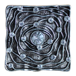 DaRosa Creations - Artistic Square Drawer Knobs With Clear Crystals - Artistic Square Drawer Knobs - Cabinet Knobs with Clear Crystals (MK140)