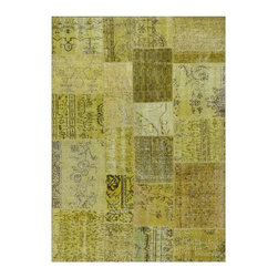 """Pre-owned Yellow Overdyed Turkish Patchwork Carpet - Traditional Turkish patterns from an assortment of vintage pieces mix to make this hand made, naturally distressed vintage rug. Full cotton backing and decorative blanket stitch edging.     Remnants of vintage wool on a cotton warp, made entirely by hand in the '60's through '80's when Turkish women still included weaving in their daily homemaking chores. Employing the sturdy double knot technique unique to Turkish rugs, multicolor floral and medallion motifs were created a row at a time using bright hand dyed wools. Considered too old fashioned for modern Turkish homes in their traditional incarnations, these rugs have languished in back rooms of the bazaars‰Ű_until now, as these fragments in excellent condition are overdyed and combined to create modern patchwork statements for the floor.    Note from the seller: """"Our revitalization process keeps rugs that may otherwise get tossed out of landfill. Repurposed discards are helping artisans connect and create, supporting the community we're building here in Istanbul to revive vanishing traditional fiber crafts.‰Űť    Please note that all sales are final - These amazing rugs are coming direct from Istanbul, Turkey and returns will not be allowed."""