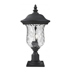 Three Light Black Clear Waterglass Glass Post Light - Traditional charm emanates from this large outdoor pier mount fixture, which pairs clear water glass with black hardware for a timeless look.