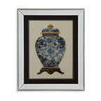 Bassett Mirror - Bassett Mirror Framed Under Glass Art, Blue Porcelain Vase II - Blue Porcelain Vase II