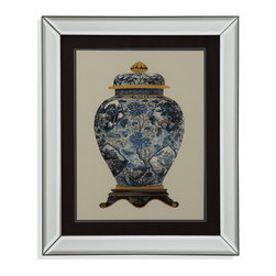 Bassett Mirror - Bassett Mirror Framed Under Glass Art, Blue Porcelain Vase II - Blue Porcelain Vase II