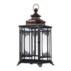 Sterling Industries - Sterling Industries 128-1013 Candle Lantern Decor in Antique Black With Cassis G - Black And Gold Hurricane Lantern