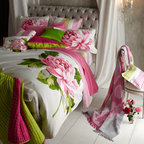 """Designers Guild - Designers Guild Striped Linen Box Pillow, 16""""Sq. - Large-scale peonies, bursting with color, sit against the fresh white ground of """"Charlottenberg"""" bed linens. A coordinating stripe is used for duvet cover reverse, sheeting, and boudoir sham on chair. Printed on 300-thread-count cotton sateen. By Design..."""