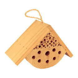 TDI Brands - Small Mason Bee House - This darling display serves as a welcome environment for mason bees in any backyard. These non-stinging insects are perfect for pollinating plants and are sure to help any flowerbed flourish   4.75'' W x 7.25'' H x 3.25'' D Wood Imported