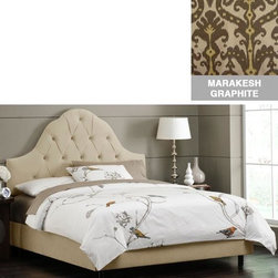 """Home Decorators Collection - Custom Georgiana Upholstered Bed - Our exquisitely crafted and custom-upholstered Georgiana Upholstered Bed is an ideal focal point to add to any bedroom. The delicately curved headboard is upholstered in the same fabric as the rails and footboard. Choose your fabric from our large selection of top-quality options to create your perfect piece. Fits standard high-profile box spring of 9"""". Steel bed frame. Includes hardware and instructions. Assembled to order in the USA and delivered in 4-6 weeks. Spot clean only."""