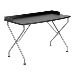 Flash Furniture - Flash Furniture Black Computer Desk with Silver Frame - NAN-JN-2116-BK-GG - This large surface writing desk will provide you enough space for your laptop and writing materials. The protective ledge border will permit papers from easily falling off the edge of the table. The simple design of this desk allows it to easily fit into any work space. [NAN-JN-2116-BK-GG]