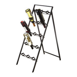 Bottoms Up Wine Rack - Arrange your wine bottles head first in the Bottoms Up Wine Rack. This rack props open like a sandwich board, as is a great addition to a restaurant, wine seller, or roomy dining room.
