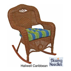 Blazing Needles - All-Weather U-Shaped UV-Resistant Outdoor Rocker Chair Cushion - The perfect companion for your outdoor rocking chair, this modern blue outdoor rocking chair cushion will instantly update your outdoor space. This U-shaped cushion is supremely comfortable and features an all-weather-resistant polyester finish.