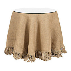 """Ballard Designs - 24 Inch Fringed Burlap Trio - Terrific Table made of durable wood composites. Lined burlap tablecloth with matching fringe. Glass topper is 1/4"""" thick and made from tempered glass. Dryclean only.. We've taken the neutral hue and natural texture of burlap and refined it with 6"""" bullion fringe made of jute. The result is suited for your dining room, den or bedside. Our specially priced Fringed Burlap Trio set includes a 24 inch diameter terrific table, 72 inch diameter burlap tablecloth with fringe and a 24 inch diameter clear glass top to give your tables a finished look. Terrific tables, burlap tablecloth with fringe and glass topper are also sold separetely. Fringed Burlap Trios features include: . . . ."""