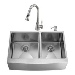 """VIGO Industries - VIGO All in One 36-inch Farmhouse Stainless Steel Double Bowl Kitchen Sink and F - Modernize the look of your entire kitchen with a VIGO All in One Kitchen Set featuring a 36"""" Farmhouse - Apron Front sink, faucet, soap dispenser, two matching bottom grids and two strainers."""