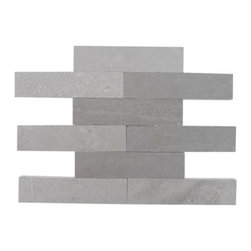 "Brushed Stone Lady Gray 2x8 Marble Tile - Brushed Stone Lady Gray 2x8 Marble Tile This marble will provide endless design possibilities from contemporary to classic. It creates a great focal point to suit a variety of settings. Using a subway tile as a back splash will add style and color to your kitchen decor or any decorated room in your home. It will also give it a more distinct look. The natural material will have a color variation. . Chip Size: 2""x8"" Color: Gray Material: Lady Gray Finish: Brushed Sold by the Square Foot- 9 pieces per sq. ft."