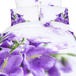 Dolce Mela - Luxury Duvet Covet Set Modern Linens Dolce Mela DM442, King - Artistic purple floral patterns are painted and fade to white background to create a unique modern effect for a romantic bedroom.