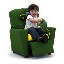 KidzWorld - John Deere Kid's Recliner - The new John Deere juvenile upholstered furniture, and this eye-catching green and yellow boy's recliner is sure to be a welcome addition to any young boy's room, or family room. Features: -Sturdy, mixed hardwood frame with a reclining mechanism made of steel.-Reclining mechanism has a safety feature, whereby, the footrest must be pulled out from the bottom before a child is able to recline back. Child can safely recline back on their own by pushing back on the armrests.-Polyester fiber fill and polyurethane foam padding (these meet all CAL foam, CPSIA standards, lead tests, and is CARB compliant).-Stylish backrest is over-stuffed providing a large, rounded top.-Armrests are slightly larger at the top, featuring a flattened top surface and front section which are padded for additional safety and to ensure no sharp edges.-Recessed plastic cup holder in the top of the right-hand armrest.-Made in the USA.-John Deere collection.-Product Type: Chair.-Collection: John Deere.-Finish: Green & Yellow.-Hardware Finish: Steel.-Distressed: No.-Powder Coated Finish: No.-Gloss Finish: No.-Frame Material: Mixed hardwood.-Hardware Material: Steel.-Solid Wood Construction: Yes.-Number of Items Included: 1.-Non-Toxic: No.-UV Resistant: No.-Fire Resistant: No.-Stain Resistant: No.-Mildew Resistant: No.-Insect Resistant: No.-Arms Included: Yes.-Upholstered Seat: Yes -Seat Upholstery Material: Polyester fibers & densified fibers.-Seat Upholstery Color: Yellow.-Removable Seat Cushions: No.-Seat Cushion Fill Material: Polyester fibers & densified fibers.-Removable Seat Cushion Cover: No.-Tufted Seat Upholstery: No.-Welt on Seat Cushions: No..-Upholstered Back: Yes -Back Upholstery Material: Cotton.-Back Upholstery Color: Green.-Removable Back Cushions: No.-Back Cushion Fill Material: Polyester fibers & densified fibers.-Removable Back Cushion Cover: No.-Tufted Back Upholstery: No.-Welt on Back Cushions: No..-Nailhead Trim: No.-Rocker: No.-Swivel: No