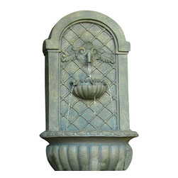 Sunnydaze Decor - Venetian Outdoor Wall Fountain, French Limestone - Make morning coffee on your patio a transformative experience with the soothing sounds of running water. This sturdy Polystone fountain is wall-mounted, making it perfect for intimate courtyards or smaller outdoor spaces. Plug it in and relax.