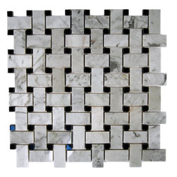 """Trenza Weave White Carrera 1x2 With Black Dot 7/8x7/8 Marble Tile - Trenza Weave White Carrera 1""""x2"""" With Black Dot 7/8""""x7/8"""" Marble Tile These hand-made window patterns are made from stone mosaics, each piece fits into the next like a perfect puzzle. Its stunning design with its intricate basket weave pattern will bring warmth and a natural ambiance to your home. The mesh backing not only simplifies installation, it also allows the tiles to be separated which adds to their design flexibility. Chip Size: 1"""" x 2"""" Dot: 7/8""""x7/8"""" Color: White Carrera and Black Dot Material: Marble Finish: Polished Sold by the Sheet - each sheet measures 12"""" x 12"""" (1 sq. ft.) Thickness: 8mm Please note each lot will vary from the next."""