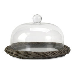 IMAX Worldwide Home - Olivia Glass Cloche with Willow Base - The Olivia glass cloche adds interest to any area! Willow is finished in a warm grey stain, making this neutral piece easily customizable with filler for a personalized look!. Material: 70% Glass, 30% Willow. 8.25 in. H x 14 in. W x 14 in. (4 lbs)