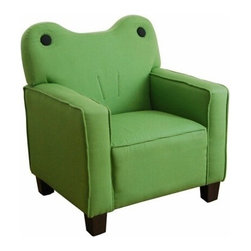 "Acme - Kermit Green Fabric Upholstered Frog Shaped Kids Accent Side Chair - Kermit Green Fabric Upholstered Frog Shaped Kids Accent Side Chair. Measures 22"" x 21"" x 24""H. Some assembly required."