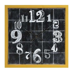Mitchell Wall Clock - A fun addition to any room, the Mitchell wall clock features a face painted to look like a chalk board drawing. With it's bright yellow frame and quirky numbering, this clock will make you smile while you pass the time.